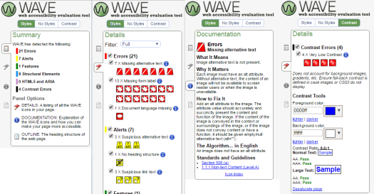 Showing 4 screenshots of the WAVE menu: Summary, Details of issues, Full explanation on an issue, and color contrast checker.