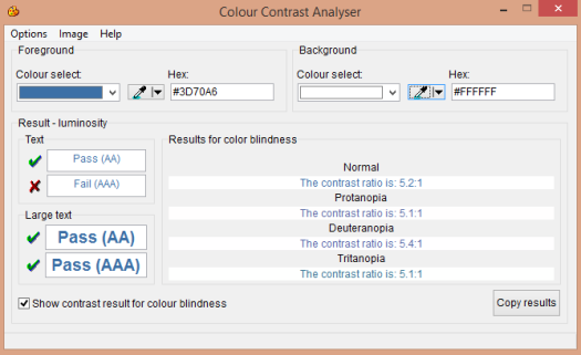 Colour Contrast Analyser with color blindness report